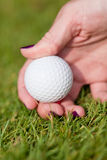 Golf ball and iron on green grass detail macro summer outdoor Stock Photography