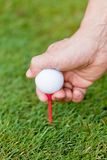 Golf ball and iron on green grass detail macro Royalty Free Stock Images