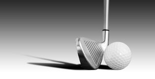 Golf ball and iron. Isolated on white Royalty Free Stock Photo