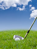 Golf ball and iron on tall grass Stock Image
