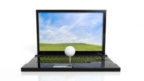 Golf ball on laptop keyboard Royalty Free Stock Photo