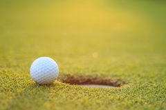 Golf ball on lip of cup in course royalty free stock photo