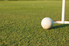 Golf ball on lip of cup Royalty Free Stock Images