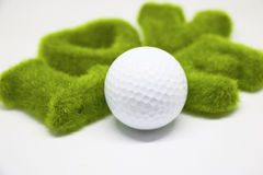 Golf ball with love letter on white background Royalty Free Stock Image