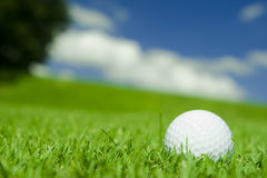 Golf Ball on lush fairway. With blue summer sky in background Stock Photo