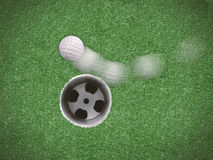 Golf ball in motion missing target royalty free stock photography