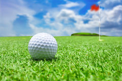 The golf ball near the hole Stock Photos