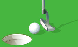 A golf ball near the hole Royalty Free Stock Image