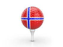 Golf ball Norway flag Royalty Free Stock Images