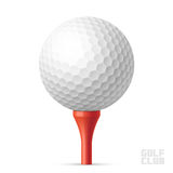 Golf Ball On Red Tee Stock Photography
