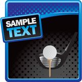 Golf Ball On Tee With Club On Halftone Banner Royalty Free Stock Photos