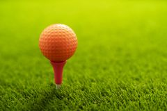 Golf ball on green grass stock image