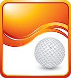 Golf ball on orange wave background Stock Images