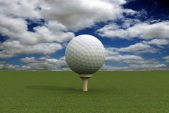 Golf ball over blue sky. Golf ball over clouded blue sky Royalty Free Stock Images