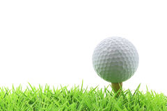 Golf ball on pin Royalty Free Stock Photo