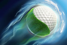 Golf ball planet with grass travel in space Royalty Free Stock Photo