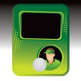 Golf ball player on green halftone advertisement Stock Photos