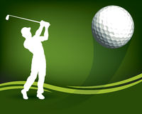 Golf Ball Player. An illustration of a golf player swinging his club and hitting a ball Stock Photos