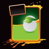 Golf ball player on orange splattered banner Royalty Free Stock Photo