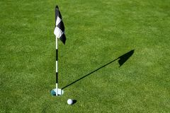 Golf ball on practice putting green next to hole and flag, sunny morning stock image