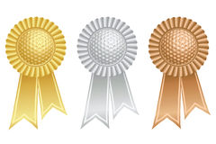 Golf ball prize rosettes Royalty Free Stock Photos