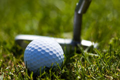 Golf Ball and Putter 2 Royalty Free Stock Images