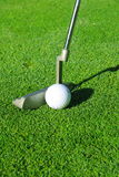 Golf ball and putter. On a green Stock Photo