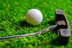 Golf ball and putter on grass royalty free stock images