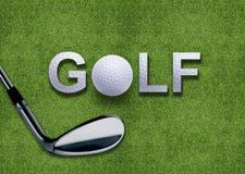 Golf ball and putter on green grass. Golf ball and golf word and putter on green grass Stock Photo