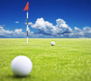 Golf ball on a putting green Stock Images