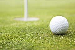 Golf ball on a putting green Royalty Free Stock Images