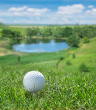 Golf ball. Golf ball ready to be hit on the green grass Stock Image