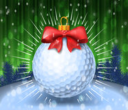 Golf ball with red bow. On colorful background. Holiday greeting card example. Vector illustration vector illustration