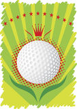 Golf ball with red crown and  stars.Green golf poster Royalty Free Stock Photography