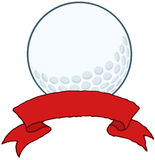 Golf Ball With Red Ribbon Banner Stock Images