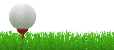 Golf ball on red tee in grass - Royalty Free Stock Photo