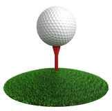 Golf ball and red tee on green grass disc Stock Images