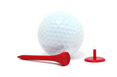 Golf Ball, Red Tee, and Marker Royalty Free Stock Image