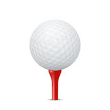 Golf ball on a red tee. Vector illustration. Stock Photography