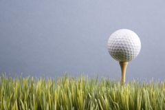 Golf ball resting on tee Stock Photography