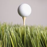 Golf ball resting on tee in grass. Royalty Free Stock Photo