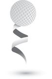 Golf ball on a ribbon. Golf ball attached to a white ribbon Stock Photos
