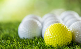 Golf ball row Royalty Free Stock Image