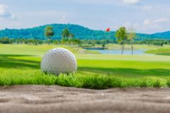 Golf ball on sand bunker in golf courses. Close up Golf ball on sand bunker in golf courses Royalty Free Stock Images