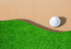 Golf Ball on Sand Trap With Copy Space royalty free stock images