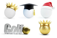 Golf ball set 3d. on white background Royalty Free Stock Photo