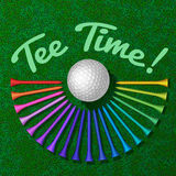 Golf ball with set of tee Royalty Free Stock Image