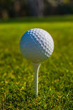 Golf ball sits on a wooden tee Stock Photos