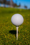 Golf ball sits on a wooden tee Royalty Free Stock Image