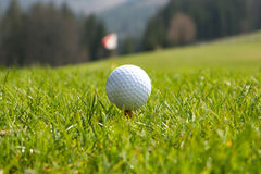 Golf ball at start Royalty Free Stock Photo